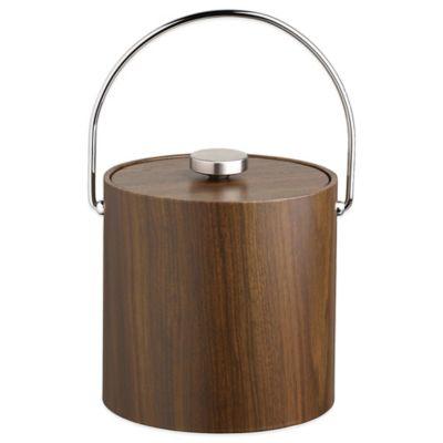 Kraftware™ Woodcraft Walnut 3 qt. Ice Bucket with Bale Handle and Vinyl Lid