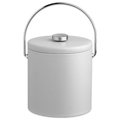 Kraftware™ Contempo 3 qt. Tall Faux Leather Ice Bucket in White with Lid