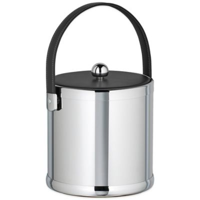 Kraftware™ Americano Polished Chrome 3 qt. Ice Bucket with Black Leatherette Lid