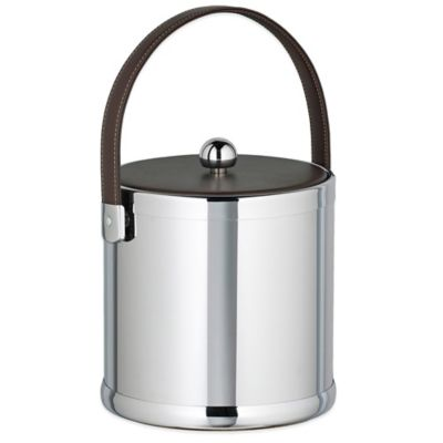 Kraftware™ Americano Polished Chrome 3 qt. Ice Bucket with Brown Leatherette Lid