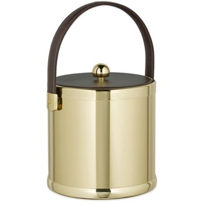 Kraftware™ Americano Polished Brass 3 qt. Ice Bucket with Leatherette Lid