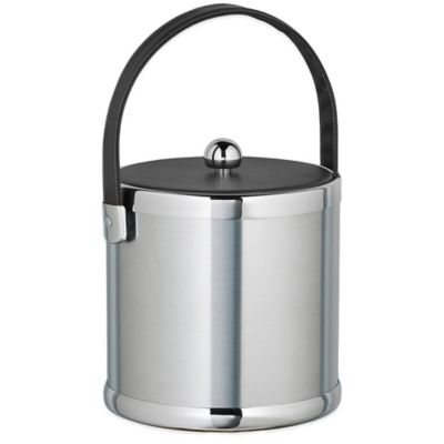 Kraftware™ Americano Brushed Chrome 3 qt. Ice Bucket with Black Leatherette Lid