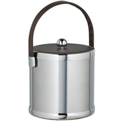Kraftware™ Americano Brushed Chrome 3 qt. Ice Bucket with Brown Leatherette Lid