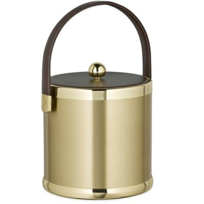 Kraftware™ Americano Brushed Brass 3 qt. Ice Bucket with Leatherette Lid