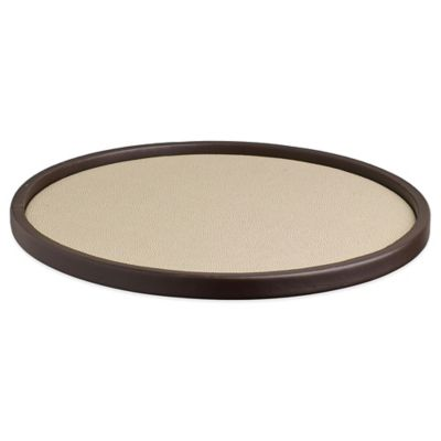 Kraftware™ Cosmopolitan Latte Round Vinyl Serving Tray in Tan