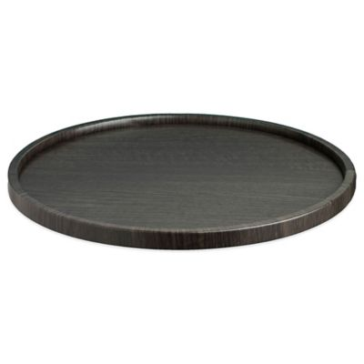 Kraftware™ Woodcraft Ebony Round Vinyl Serving Tray in Black