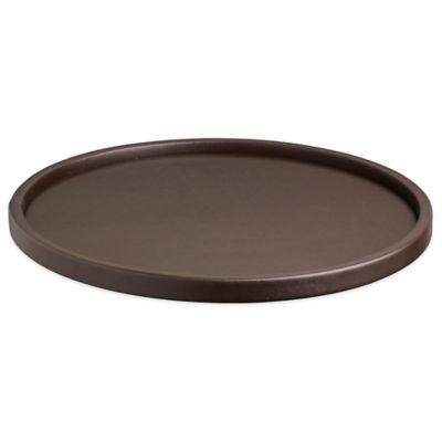Kraftware™ Contempo Round Vinyl Serving Tray in Brown