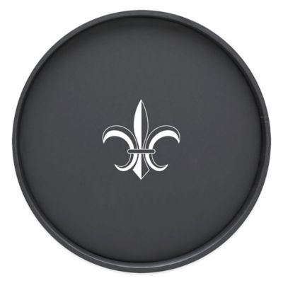 Kraftware™ Round Vinyl Fleur De Lis Serving Tray in Black