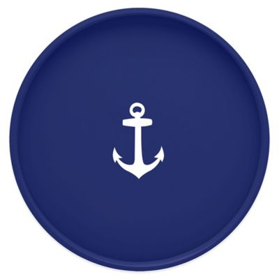 Kraftware™ Round Vinyl Anchor Serving Tray in Blue