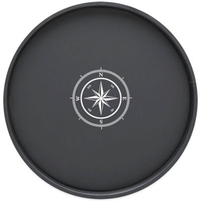 Kraftware™ Round Vinyl Compass Point Serving Tray in Black