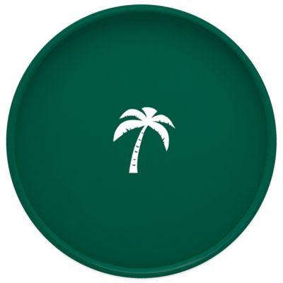 Kraftware™ Round Vinyl Palm Tree Serving Tray in Green
