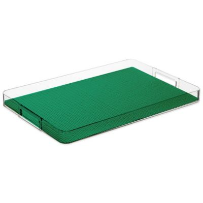 Kraftware™ Rectangular Handled Gallery Tray in Emerald
