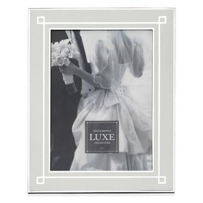 Reed & Barton Luxe Collection 5-Inch x 7-Inch Deco Picture Frame in Silver/White
