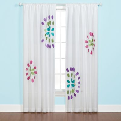 Starburst Applique Window Curtain Panel in Beige