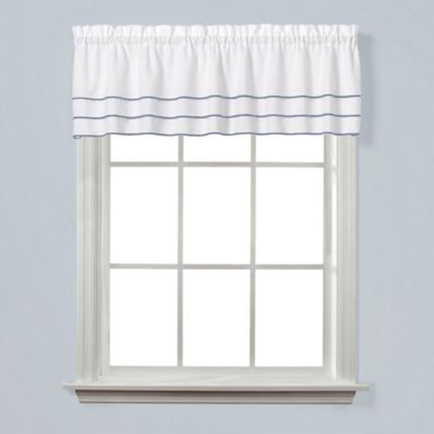 Ann Striped 13-Inch Window Valance in Blue