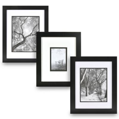 Real Simple® Black Wood Wall Frame with White Over Black Mat for 5-Inch x 5-Inch Photo