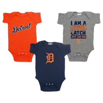 Soft As A Grape® MLB Detroit Tigers Size 0-12M 3-Pack Bodysuits