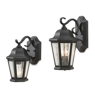 Feiss® Martinsville Outdoor 10.75-Inch Wall Lantern in Black