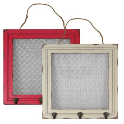 16-Inch x 16-Inch Mesh and Wood Frame Jewelry Holder in Antique White