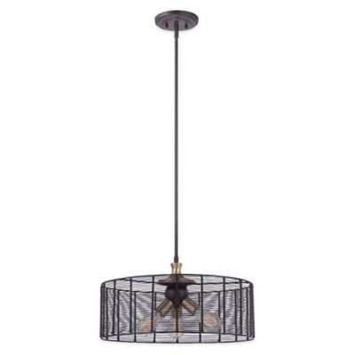 Quoizel Long Beach 3-Light Ceiling Mount Pendant in Western Bronze