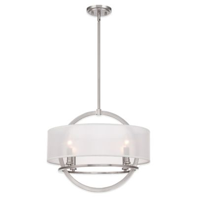 Quoizel Portland 4-Light Ceiling Mount Pendant in Brushed Nickel