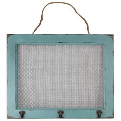 17-Inch x 17-Inch Mesh and Wood Frame Jewelry Holder in Antique Blue