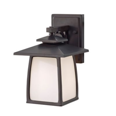 Feiss® Wall-Mount Outdoor Lantern in Oil-Rubbed Bronze with Glass Shade
