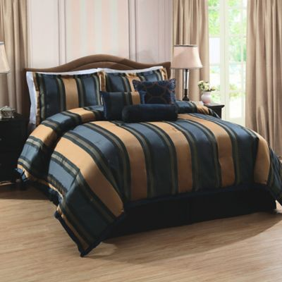 Midnight Stripe Queen Comforter Set in Navy/Tan