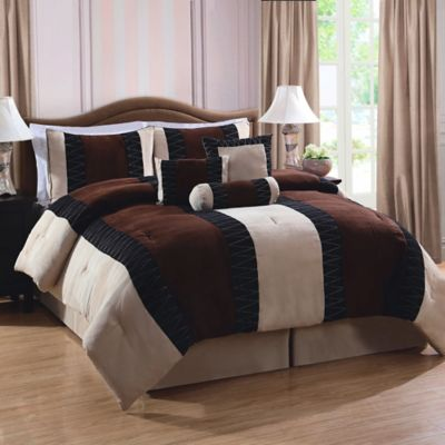 Nakita Queen Comforter Set in Brown