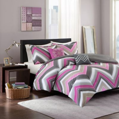 Elise Twin/Twin XL Comforter Set in Pink/Grey
