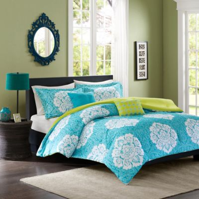 Tanya Reversible Twin/Twin XL Comforter Set in Blue
