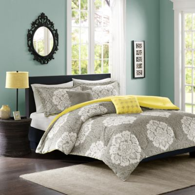 Tanya Reversible Full/Queen Comforter Set in Grey