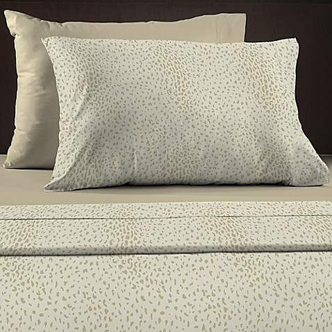 buy animal print 600 thread count reversible queen sheet set in taupe from bed bath beyond. Black Bedroom Furniture Sets. Home Design Ideas