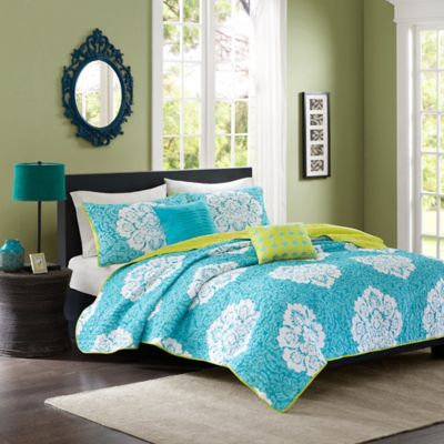 Tanya Reversible Twin/Twin XL Coverlet Set in Blue