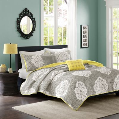 Tanya Reversible Twin/Twin XL Coverlet Set in Grey