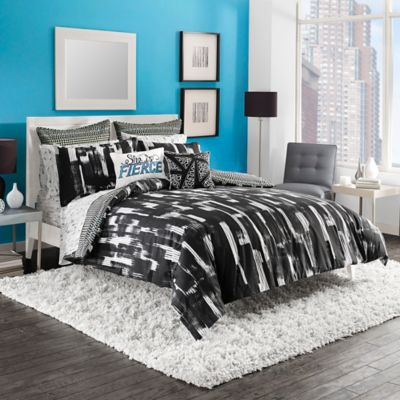 Steve Madden® Shana Reversible King Duvet Cover Set in Black/White