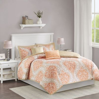 Senna Reversible Full/Queen Duvet Cover Set in Orange