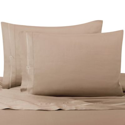 Memento King Sheet Set with Swarovski® Crystal Accents in Taupe