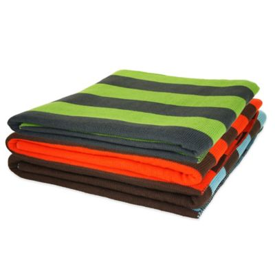 Pur Cashmere Jacquard Stripe Throw in Orange/Chocolate