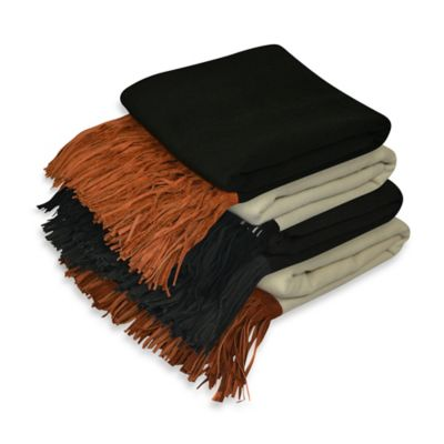 Pur Cashmere Merino Wool Throw in Black with Black Suede Fringe