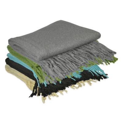 Pur Cashmere Loop Mohair Throw in Black