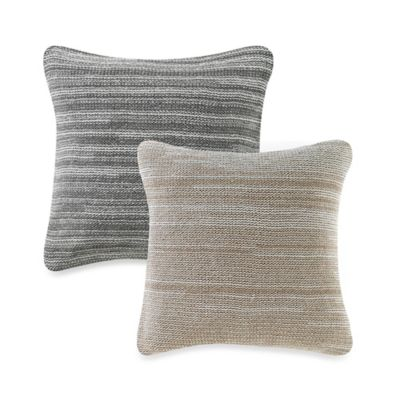 Kenneth Cole Reaction Home Yarn Dyed Knit Throw Pillow in Ivory/ Grey
