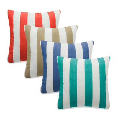 Newport Montauk Square Throw Pillow in Khaki Stripe