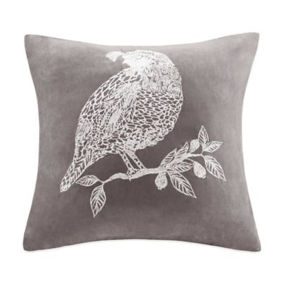 Bird Embroidered Suede Square Throw Pillow