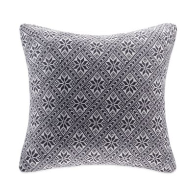 Snowflake Knit Square Throw Pillow in Grey