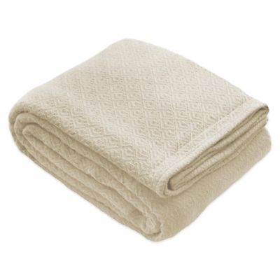 Laura Ashley® Twin Cotton Blanket in Ivory