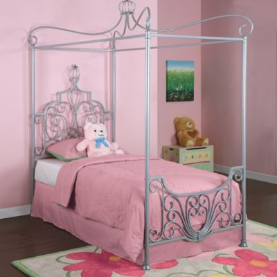 Powell Furniture Princess Rebecca Sparkle Silver Canopy Twin Bed