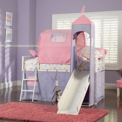 Powell Princess Castle Twin Size Tent Bunk Bed with Slide