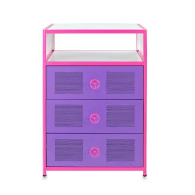 Powell Furniture Dune Buggy 3 Drawer Chest in Pink/Purple