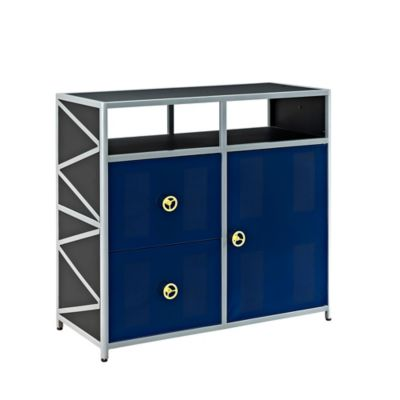 Powell Furniture Dune Buggy 1 Door, 2 Drawer Dresser in Black/Blue/Silver